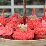 verjaardagscupcakes prinses kroon schoen roos