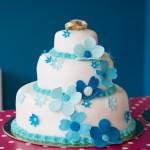 bruidstaart workshop vrijgezellenfeest blauw versieren taart