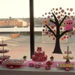 roze desserttafel bloemetjes dessertbuffet thema babyborrel
