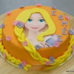 rapunzel taart esmee oranje paarse bloemen