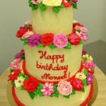 bloementaart botercreme rood roze wit paars