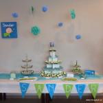 desserttafel blauw groen decoratie cupcakes petit fours mini gebakjes klein koekjes soezen thema dessertbuffet